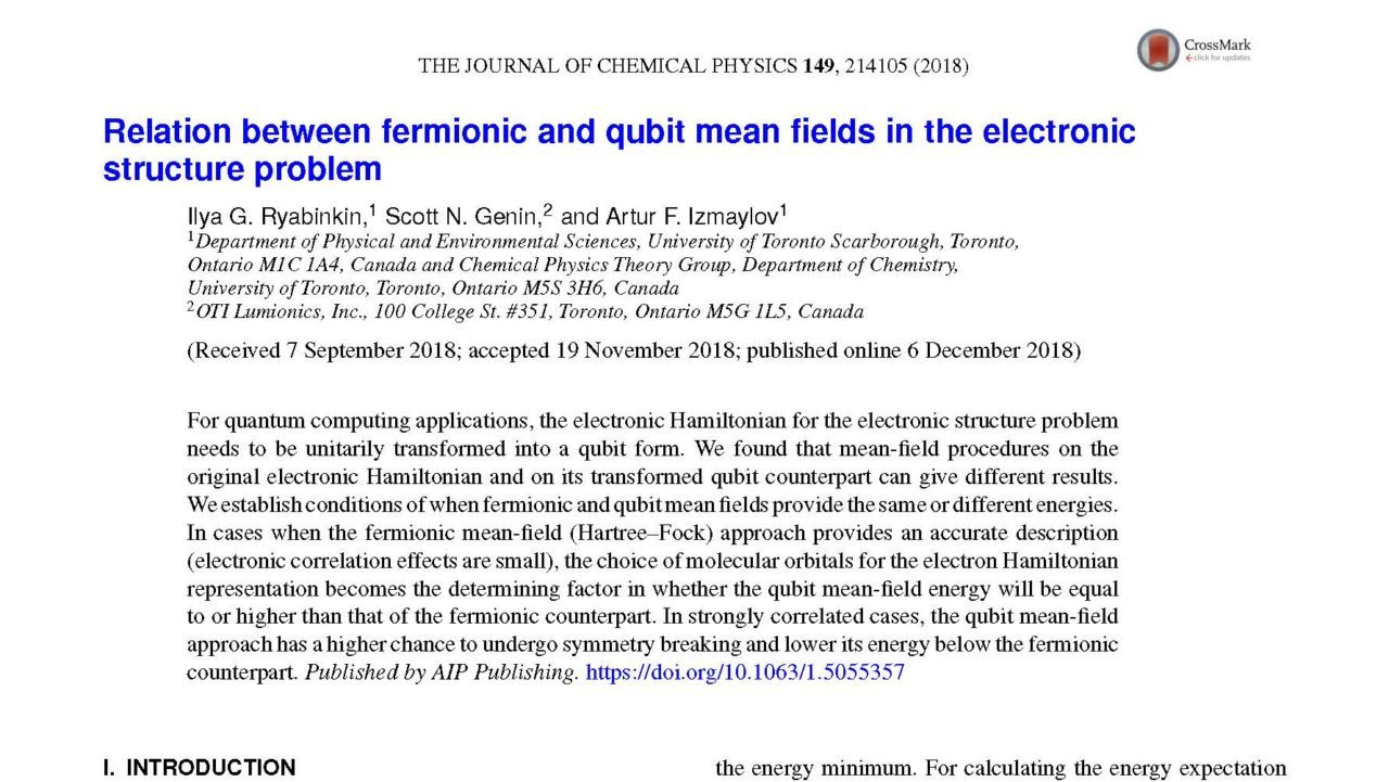 Relation between fermionic and qubit mean fields in the electronic structure problem