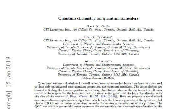 Quantum chemistry on quantum annealers