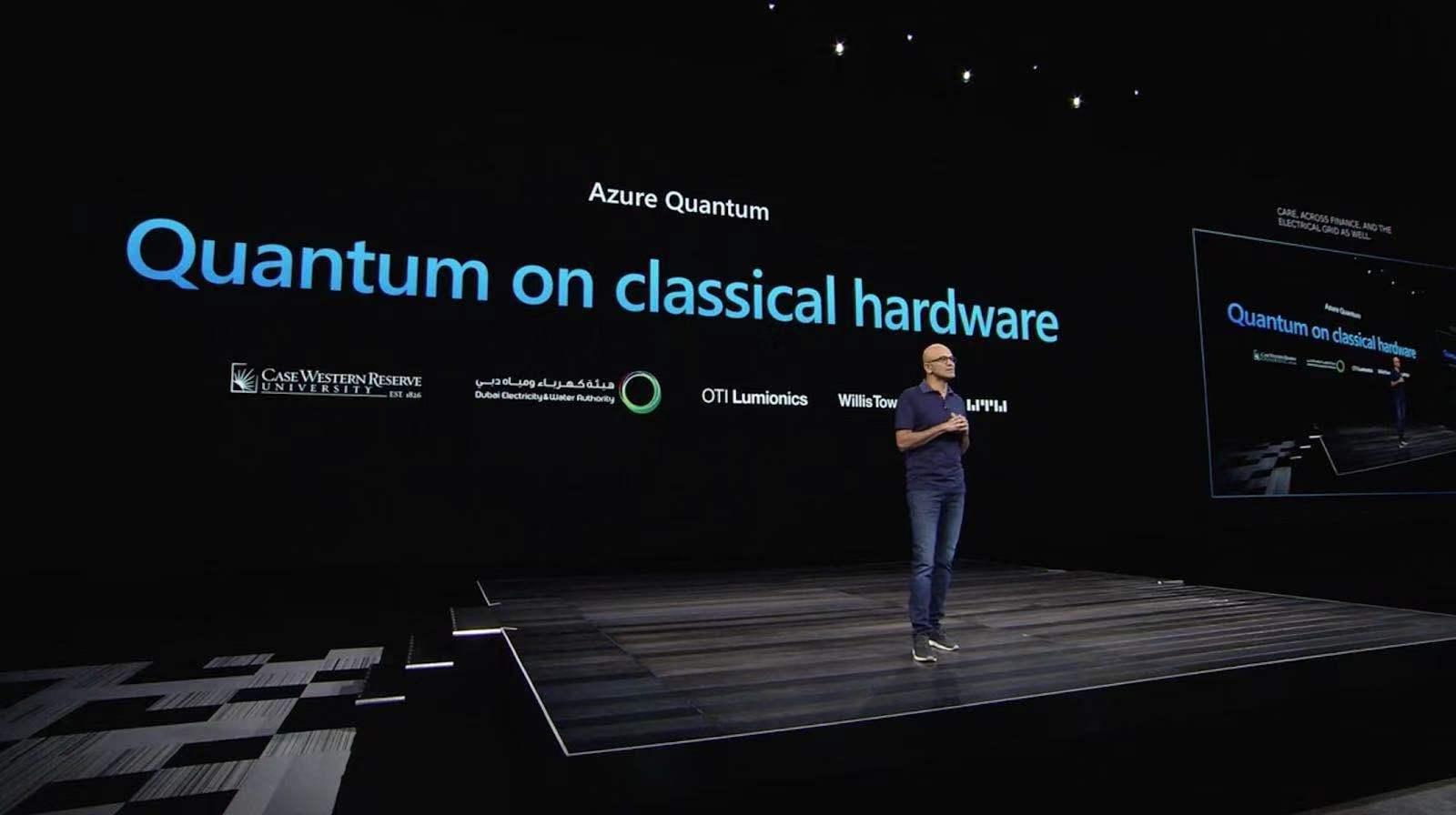 Microsoft CEO announcing Azure Quantum at Ignite 2019
